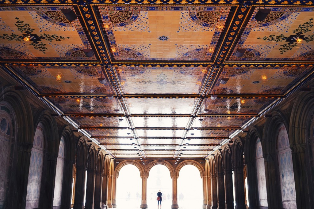 The ornate interior of the Bethesda Arcade. There are approximately 15,000 colorful patterned encaustic tiles made in England.