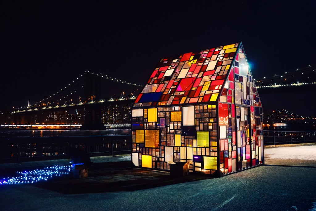 Tom Fruin Stained Glass Art Installation in Brooklyn Bridge Park